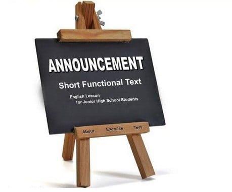 contoh announcement singkat dan simple
