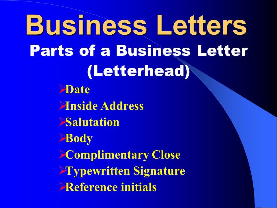 Bagian Bagian Dari Surat Bisnis Parts Of Business Letter
