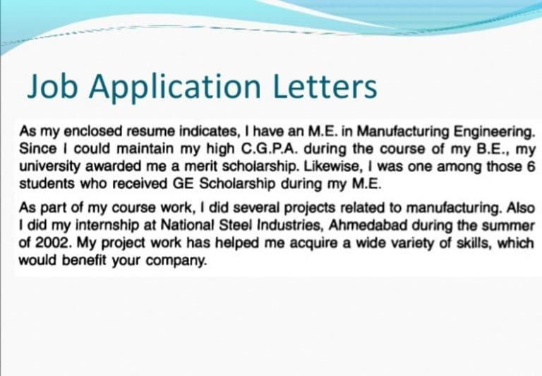 Write my job application letter in english