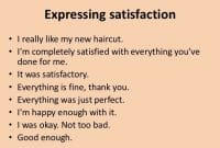 Expressing Satisfaction